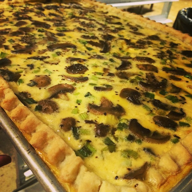 MUSHROOM GREEN ONION + GRUYERE CHEESE QUICHE: *This week's Quiche is available daily in the Cyd's Cafe + Take Away Market, by the slice