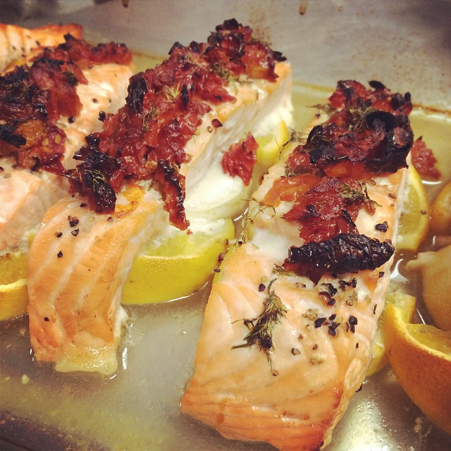 TOMATO-CITRUS TOPPED ROASTED SALMON FILLETS:: *Available NOW as tonight's entree in Take Away Market