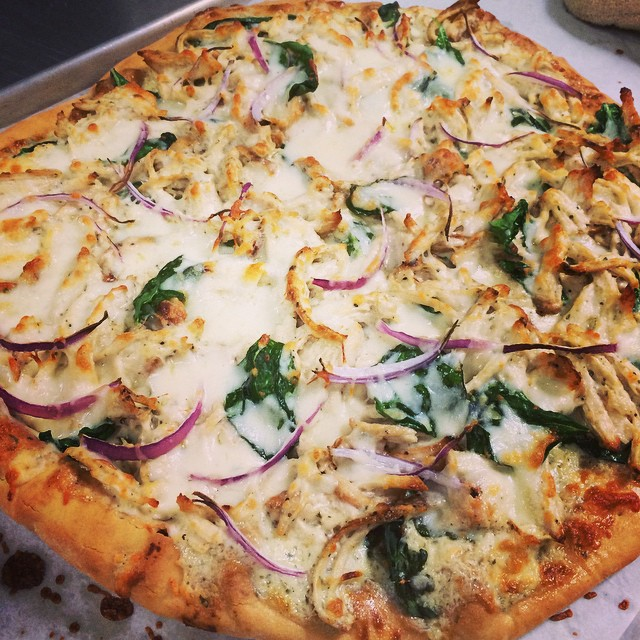 CHICKEN + SPINACH RANCH PIZZA:: *Available NOW, by the slice, in the Take Away Market