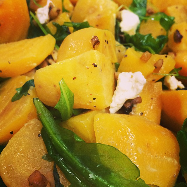GOLDEN BEET SALAD w/ GOAT CHEESE ARUGULA + CANDIED ALMONDS:: *Available ALL WEEK in the Take Away Market