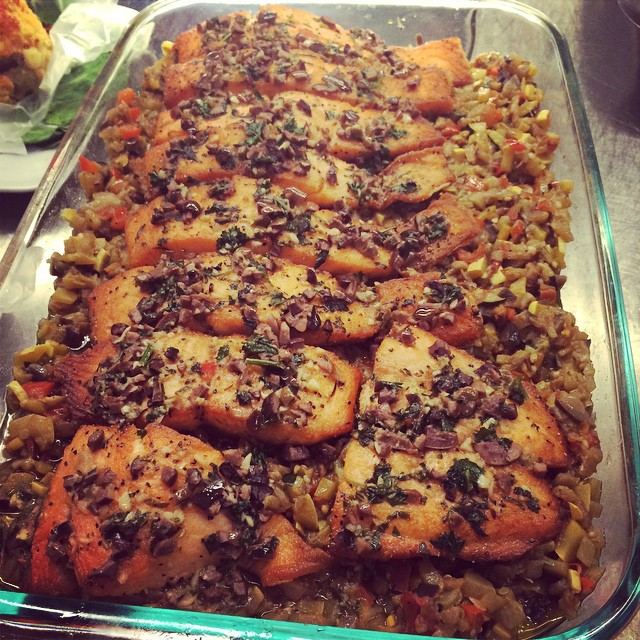 My absolute favorite salmon dish: ROASTED SALMON ON A BED OF TINY RATATOUILLE:: Available NOW in the Take Away Market