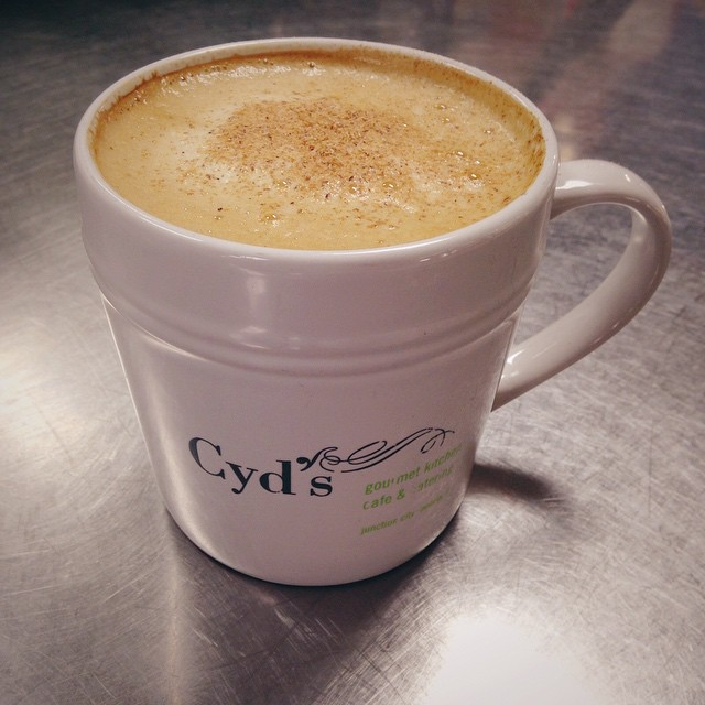 Last minute holiday shopping? Treat yourself and help keep your energy up by swinging by Cyd's for an Organic Eggnog Latte