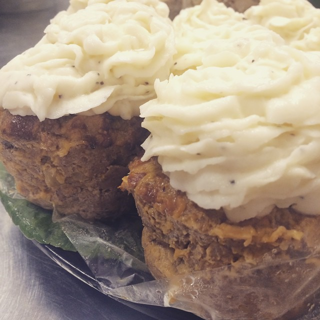 BBQ BACON + CHEDDAR MEATLOAF CUPCAKES w/MASHED POTATO CAPS:: *Available NOW in the Take Away Market