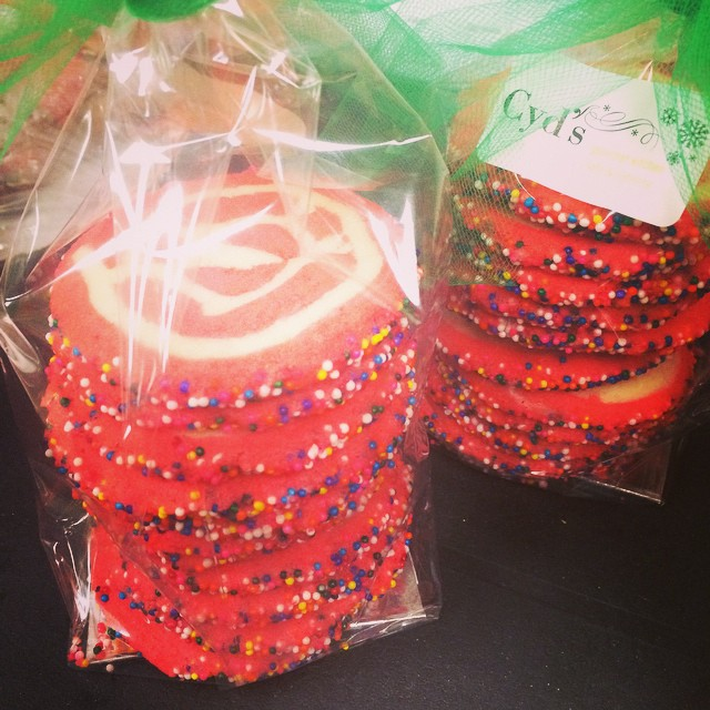 THE MOST FESTIVE SWIRL SHORTBREAD COOKIES:: *Available NOW in the Bakery #cydscookies