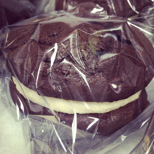 CHOCOLATE-SALTED CARAMEL WHOOPIE PIES:: *Available NOW in the Bakery